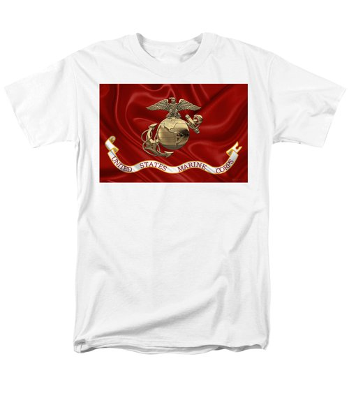 U. S.  Marine Corps - N C O Eagle Globe And Anchor Over Corps Flag Men's T-Shirt  (Regular Fit) by Serge Averbukh