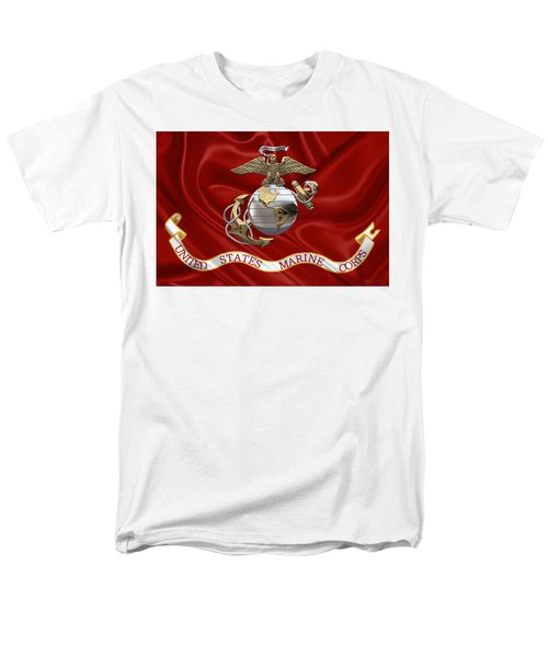 U. S.  Marine Corps - U S M C Eagle Globe And Anchor Over Corps Flag Men's T-Shirt  (Regular Fit) by Serge Averbukh