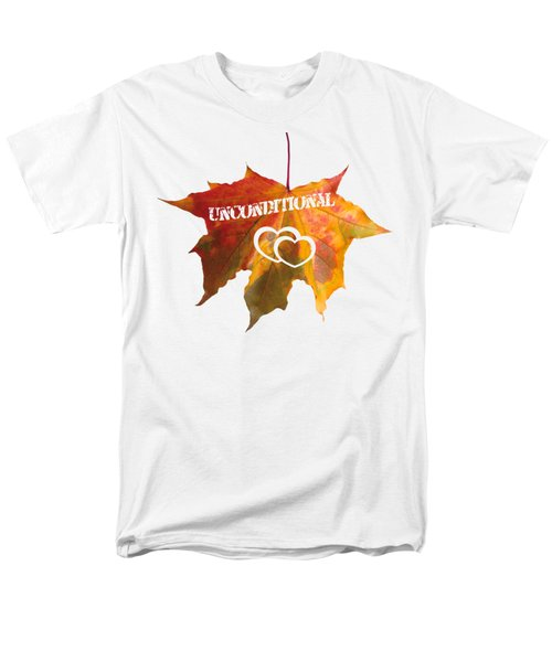 Men's T-Shirt  (Regular Fit) featuring the painting Unconditional Love Typography Carved On A Fall Leaf by Georgeta Blanaru