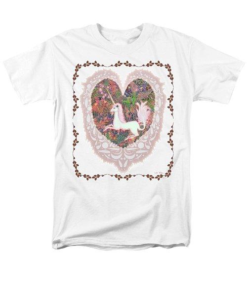 Men's T-Shirt  (Regular Fit) featuring the digital art Unicorn In A Pink Heart by Lise Winne
