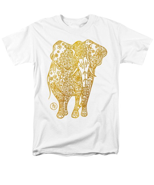 Unique Golden Elephant Art Drawing By Megan Duncanson Men's T-Shirt  (Regular Fit) by Megan Duncanson