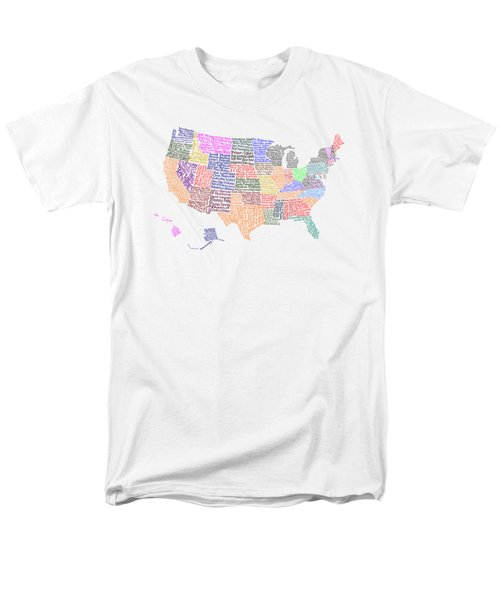 United States Musicians Map Men's T-Shirt  (Regular Fit) by Trudy Clementine