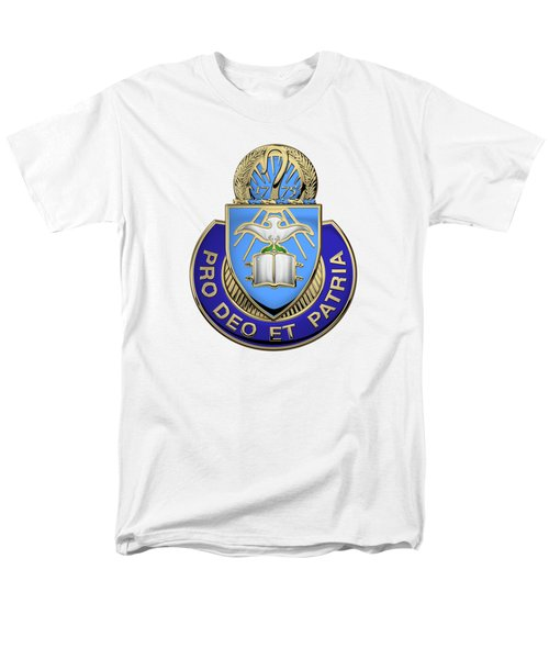 Men's T-Shirt  (Regular Fit) featuring the digital art U.s. Army Chaplain Corps - Regimental Insignia Over White Leather by Serge Averbukh