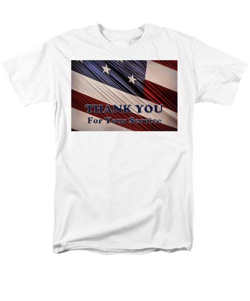 Men's T-Shirt  (Regular Fit) featuring the photograph Usa Military Veterans Patriotic Flag Thank You by Shelley Neff