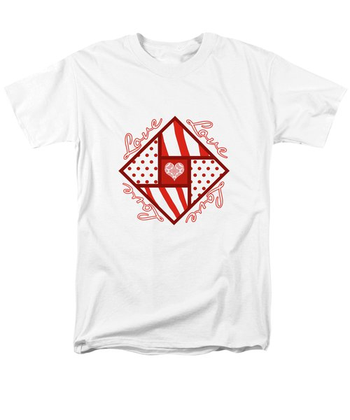 Valentine 4 Square Quilt Block Men's T-Shirt  (Regular Fit) by Methune Hively