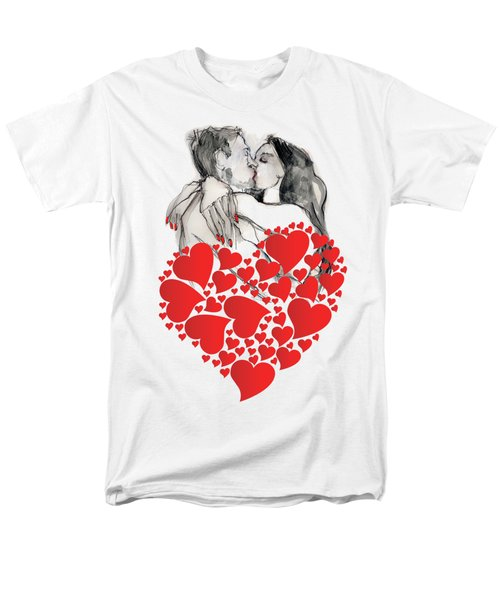 Men's T-Shirt  (Regular Fit) featuring the painting Valentine's Kiss - Valentine's Day by Carolyn Weltman