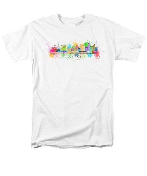 Vancouver Bc Skyline Paint Splatter Illustration Men's T-Shirt  (Regular Fit) by Jit Lim