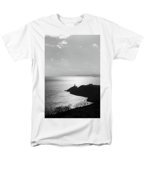 Men's T-Shirt  (Regular Fit) featuring the photograph View Of Howth Head With The Baily Lighthouse In Black And White by Semmick Photo