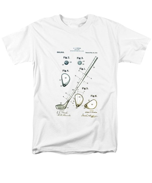 Men's T-Shirt  (Regular Fit) featuring the drawing Vintage 1910 Golf Club Patent by Bill Cannon