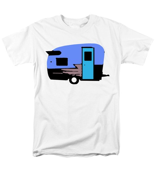 Men's T-Shirt  (Regular Fit) featuring the painting Vintage Camper Trailer Pop Art Blue by Edward Fielding