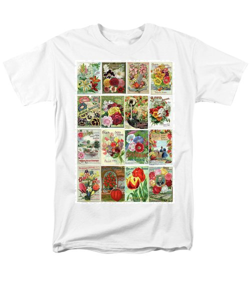 Vintage Flower Seed Packets 1 Men's T-Shirt  (Regular Fit) by Peggy Collins