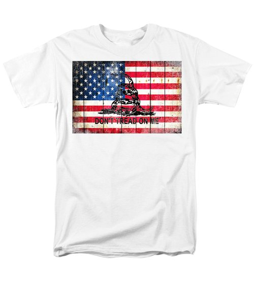 Viper On American Flag On Old Wood Planks Men's T-Shirt  (Regular Fit) by M L C