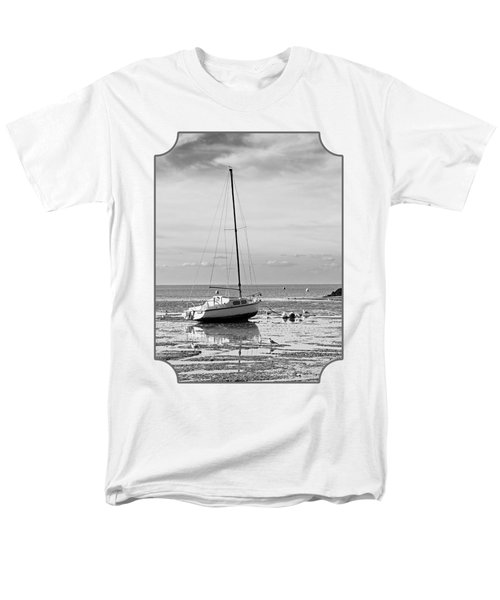 Waiting For High Tide Black And White Men's T-Shirt  (Regular Fit) by Gill Billington