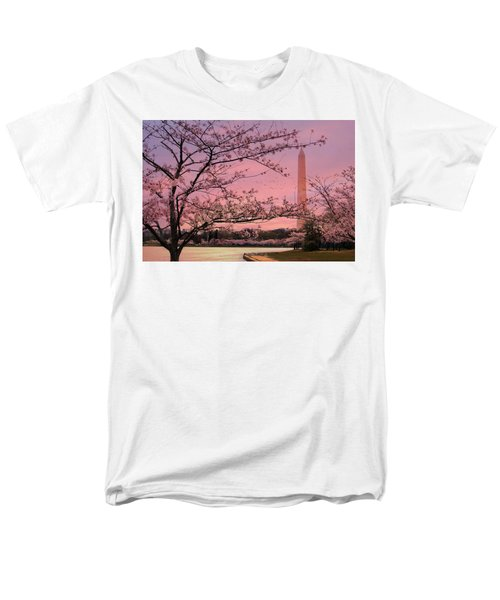Men's T-Shirt  (Regular Fit) featuring the photograph Washington Monument Cherry Blossom Festival by Shelley Neff