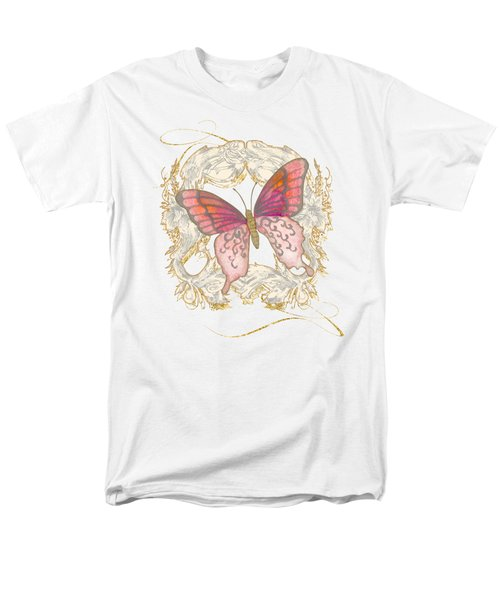 Watercolor Butterfly With Vintage Swirl Scroll Flourishes Men's T-Shirt  (Regular Fit) by Audrey Jeanne Roberts