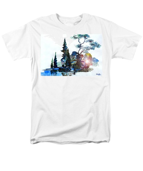 Men's T-Shirt  (Regular Fit) featuring the painting Watercolor Forest And Pond by Curtiss Shaffer