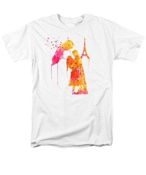 Watercolor Love Couple In Paris Men's T-Shirt  (Regular Fit)