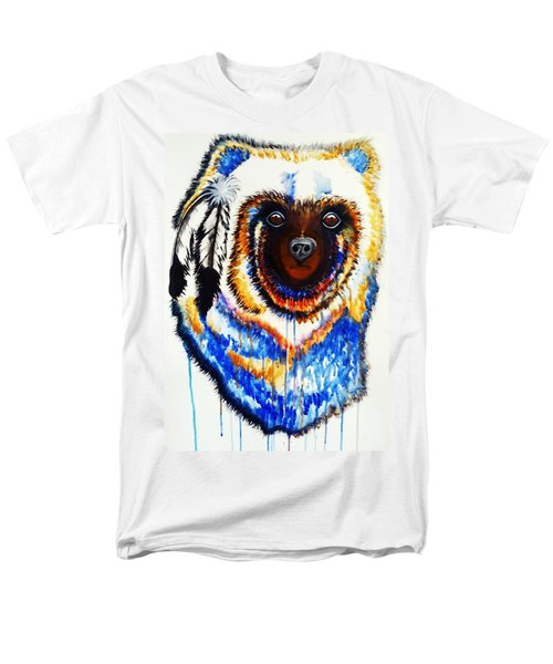 Watercolor Painting Of Spirit Of The Bear By Ayasha Loya Men's T-Shirt  (Regular Fit) by Ayasha Loya