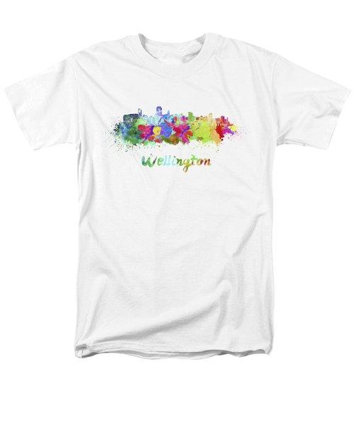 Wellington Skyline In Watercolor Men's T-Shirt  (Regular Fit) by Pablo Romero