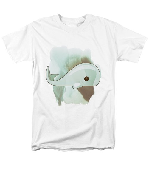 Whale Art - Bright Ocean Life Pastel Color Artwork Men's T-Shirt  (Regular Fit) by Wall Art Prints
