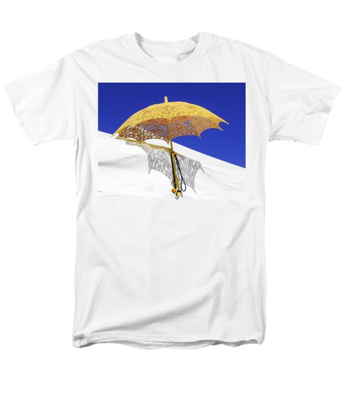 White At Base And Yellow On Blue Men's T-Shirt  (Regular Fit) by Viktor Savchenko