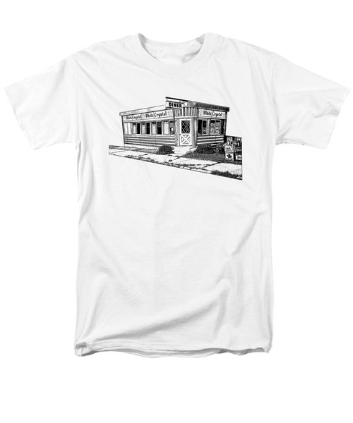 Men's T-Shirt  (Regular Fit) featuring the drawing White Crystal Diner Nj Sketch by Edward Fielding