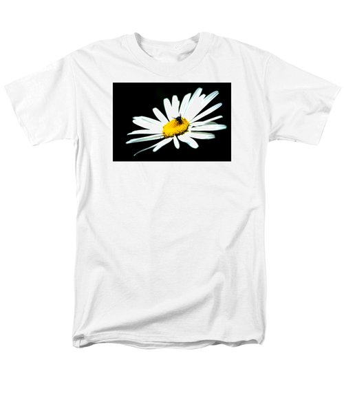 Men's T-Shirt  (Regular Fit) featuring the photograph White Daisy Flower And A Fly by Alexander Senin