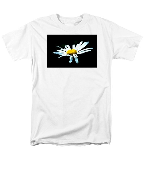 Men's T-Shirt  (Regular Fit) featuring the photograph White Daisy Flower Black Background by Alexander Senin