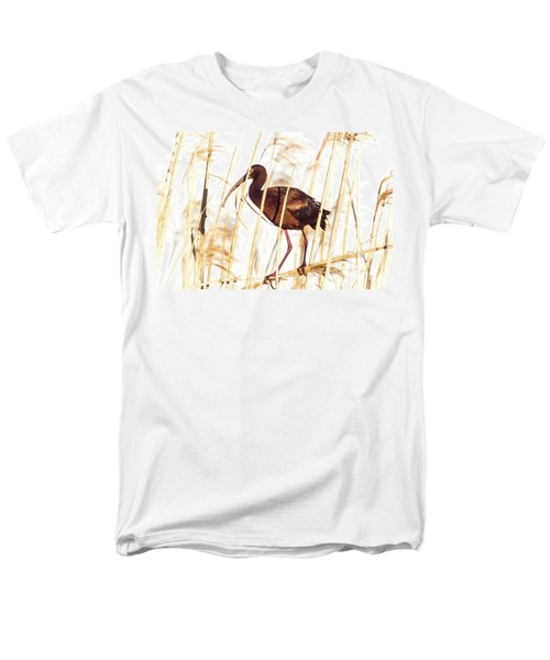 Men's T-Shirt  (Regular Fit) featuring the photograph White Faced Ibis In Reeds by Robert Frederick
