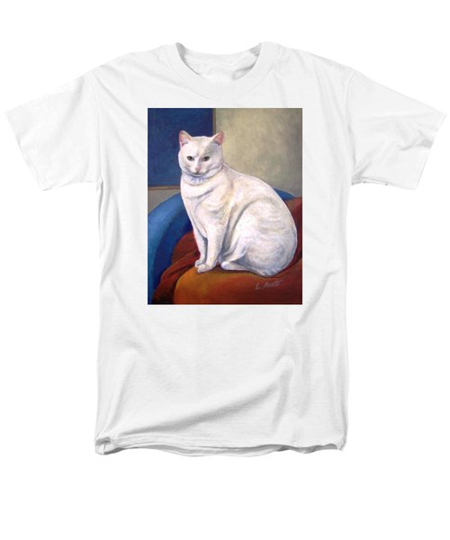 Men's T-Shirt  (Regular Fit) featuring the painting White Kitty by Laura Aceto