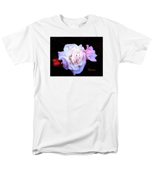 Men's T-Shirt  (Regular Fit) featuring the photograph White - Pink Roses by Sadie Reneau