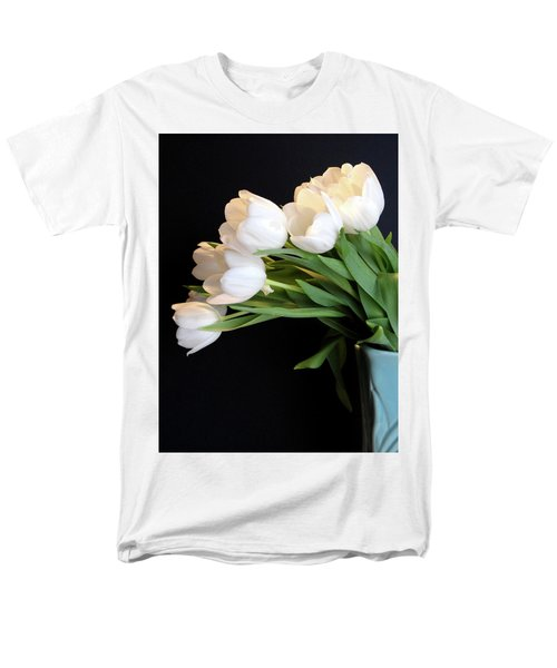 White Tulips In Blue Vase Men's T-Shirt  (Regular Fit) by Julia Wilcox