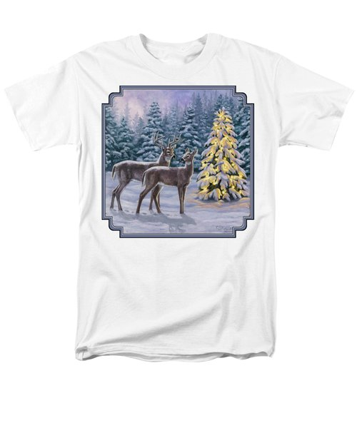 Whitetail Christmas Men's T-Shirt  (Regular Fit) by Crista Forest