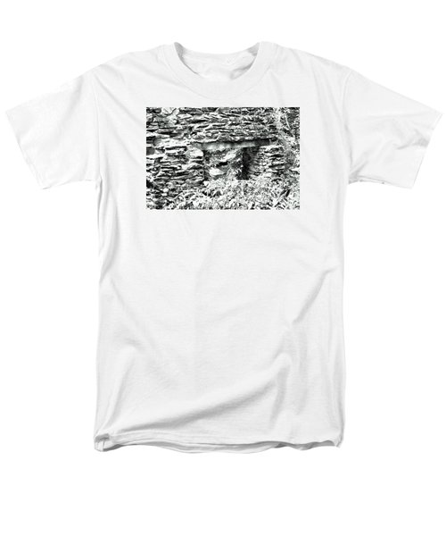Window View Of Sope Creek In Black And White Men's T-Shirt  (Regular Fit) by James Potts