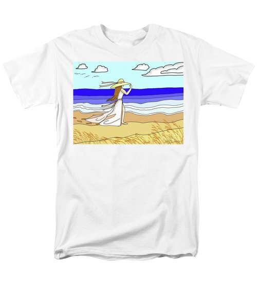 Men's T-Shirt  (Regular Fit) featuring the digital art Windy Day At The Beach by Patricia L Davidson