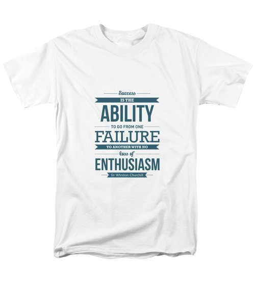Winston Churchill British Politician Typography Quote Poster Men's T-Shirt  (Regular Fit)