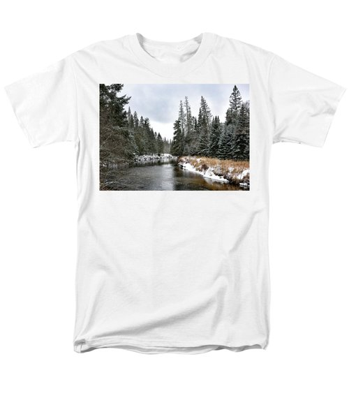 Men's T-Shirt  (Regular Fit) featuring the photograph Winter Creek In Adirondack Park - Upstate New York by Brendan Reals