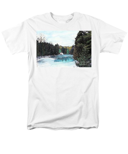 Men's T-Shirt  (Regular Fit) featuring the mixed media Winter In Kalkaska by Desiree Paquette