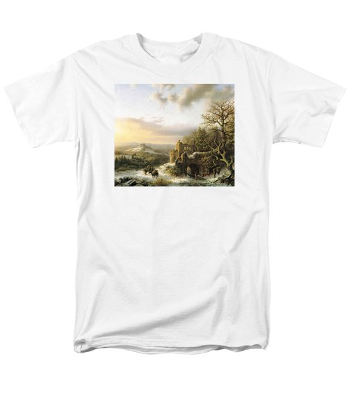 Winter Landscape With Peasants Gathering Wood Men's T-Shirt  (Regular Fit) by Reynold Jay