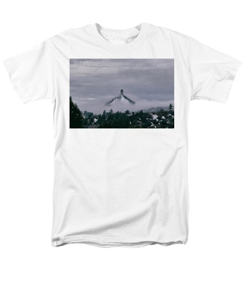 Winter Morning Fog Envelops Chimney Rock Men's T-Shirt  (Regular Fit) by Jason Coward