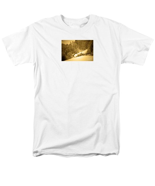 Men's T-Shirt  (Regular Fit) featuring the photograph Winter Wonderland In Switzerland - Up The Hills by Susanne Van Hulst