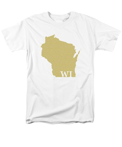 Wisconsin State Map With Text Of Constitution Men's T-Shirt  (Regular Fit) by Design Turnpike