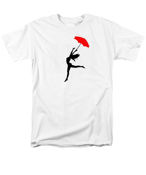 Woman Dancing In The Rain With Red Umbrella Men's T-Shirt  (Regular Fit) by Serena King