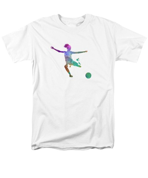 Woman Soccer Player 03 In Watercolor Men's T-Shirt  (Regular Fit) by Pablo Romero