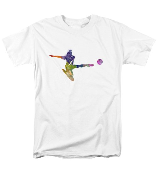 Woman Soccer Player 04 In Watercolor Men's T-Shirt  (Regular Fit) by Pablo Romero