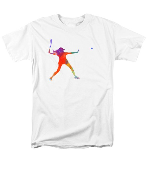 Woman Tennis Player 01 In Watercolor Men's T-Shirt  (Regular Fit) by Pablo Romero