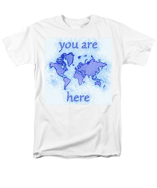 World Map Airy You Are Here In Blue And White Men's T-Shirt  (Regular Fit) by Eleven Corners