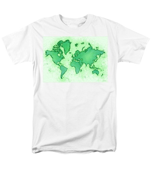World Map Airy In Green And White Men's T-Shirt  (Regular Fit) by Eleven Corners