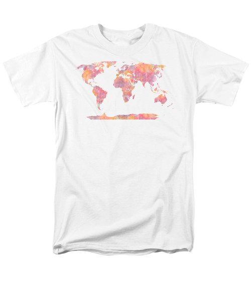 World Map Watercolor Painting Men's T-Shirt  (Regular Fit) by Georgeta Blanaru