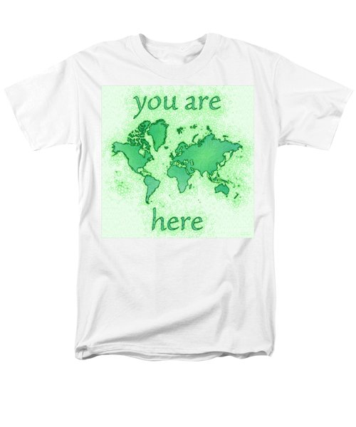 World Map You Are Here Airy In Green And White Men's T-Shirt  (Regular Fit) by Eleven Corners